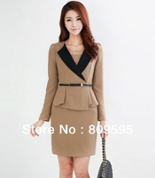 Free shipping Korean style Office lady Elegant Slim Dress for women , V-neck long sleeve OL Suit Career Apparel