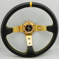 14 inches (Around 350mm) MOMO Steering Wheel PU Carbon Fiber Pattern 350mm Auto Steering Wheel Deep Dish Racing Steering Wheel