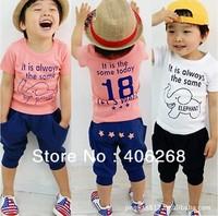 free shipping! high quality elephant suit summer children clothing  Set Cartoon printing t-shirt  Harem pants  children wear