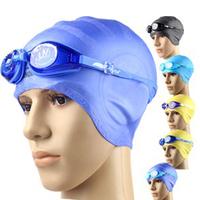 Anti-fog swimming goggles waterproof ear silica gel swimming cap big boy