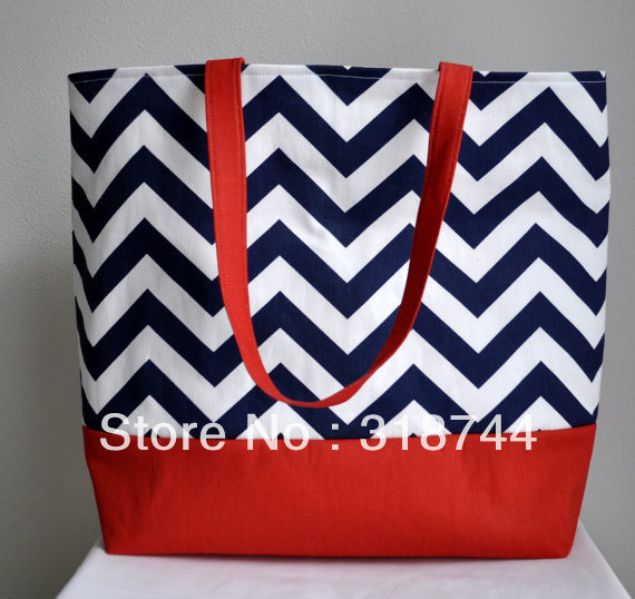 Large Nautical tote Beach Bag black ZigZag Chevron(China (Mainland))