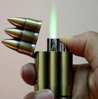 Windproof Lighter- 2pcs/lot New Arrival Unique Bronze 3 Bullet flip top Cigarette  lighter Wholesale drop/ shipping [E0300]