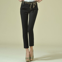 2013 spring and summer women's slim quality bow floral print belt 9 ankle length trousers 9015