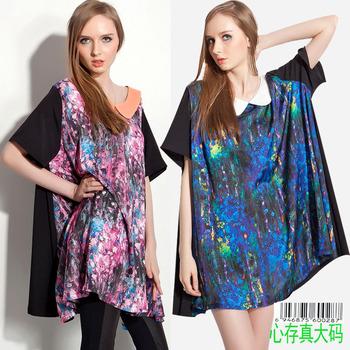 2013 spring fashion loose plus size xxxxl mm plus size fashion oil painting women's T-shirt