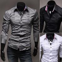2013 New Arrived Fashion Palace Chest Fold Design Men's Long-Sleeve Shirt 4 Size Free Shipping
