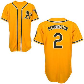 Oakland Athletics 2 Cliff Pennington Yellow Baseball Jerseys Mix Order