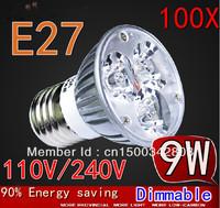 Factory directly sale Free Shipping 100pcs/lot CREE E27 9W 110V /220V Dimmable led Light led lamp bulb spotlight
