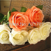 Free shipping 6pcs/lot fashion Artificial rose Flower single silk rose,beautiful home docration,wedding flower,gifts
