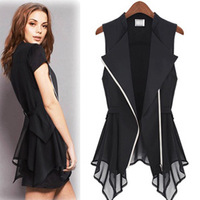 new fashion summer chiffon black white ruffles sleeveless plus size casual blusas femininas 2014 shirt women blouse