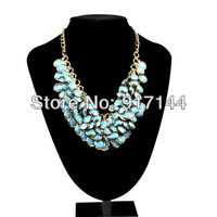 2013 New Items Golden Chain Lots Circles Bunch Blue Resin Beads Pendant Bib Necklace HJ044 Free Shipping