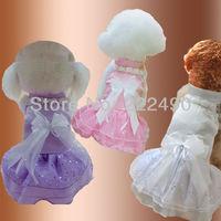 Fashion dog clothes pet lace dress white dog wedding dress skirt summer clothing Free Shipping