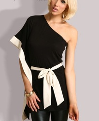 Fashion One Shoulder Loose Black Splice White Silk Bat sleeve Belt Woman's Clothing Dress Cool Jacket(China (Mainland))