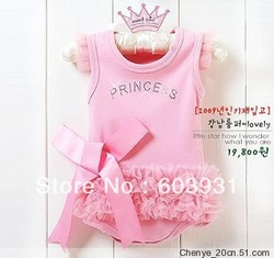 wholesale baby romper infant rompers boy's girl's Wear The lovely princess pink bow lace Romper baby clothes free shipping(China (Mainland))
