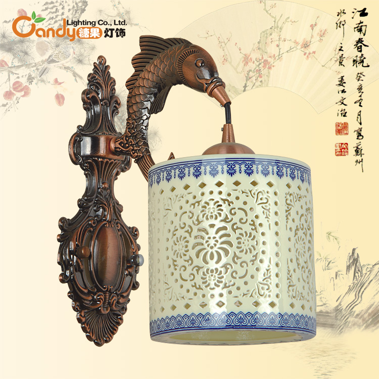Chinese style lamps chinese style wall lamp ceramic wall lamp jingdezhen ceramic cutout classical wall lamp(China (Mainland))