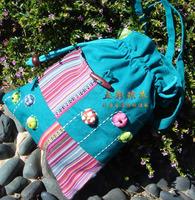 Double layer pumpkin patchwork bag national trend handmade fabric messenger bag clutch women's handbag cosmetic bag
