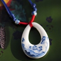 Ceramic necklace long design female blue and white porcelain necklace jewelry waxed thread preparation of necklace