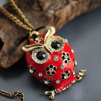 Owl necklace long chain rhinestone red animal necklace wings necklace hangings