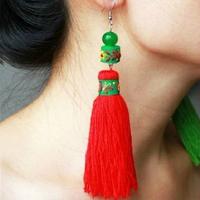 National trend accessories handmade tassel earrings drop earring long design agate tassel ear hook Women