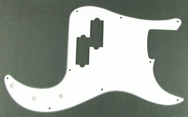 White PVC P Bass Pickguard 3Ply for Precision B Bass M229(China (Mainland))