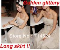 2013 New Sexy 3 layers Golden Gillitery  Chiffon Summer Sea Beach One-piece Dress ,Free Size ,Free shipping , Retail & Wolsale