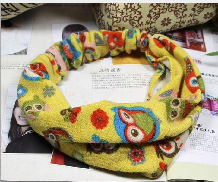 Free shipping wholesale cartoon parrot flower soft cloth hair bands turban women elastic headband girls hair hoop mix color(China (Mainland))