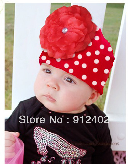 FREE SHIPPING__RED big flower hats christmas caps baby beanies flower knitted hats crochet design hot sold 1pcs/lot(China (Mainland))