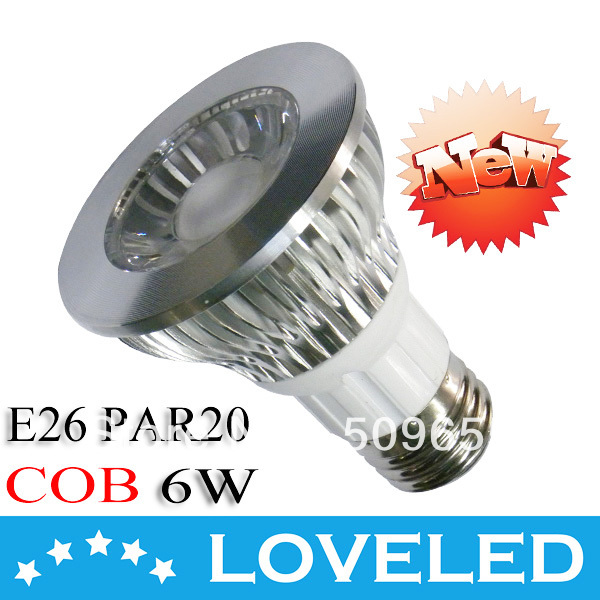 New Arrival!6W COB LED PAR20 E26 Dimmable Warm White/Cool White 550lm ETL Approved Free DHL+30pcs/lot(China (Mainland))