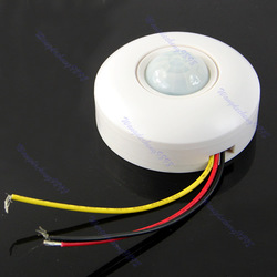 Free Shipping Infrared IR Motion Sensor Lamp Ceiling Wall Automatic Light Control Switch White(China (Mainland))