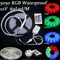 5050 300 5M 12v RGB Flexible LED Strip Jewelry Showcase SMD 60led/m Waterproof IP65 24key IR remote & controller ribbon