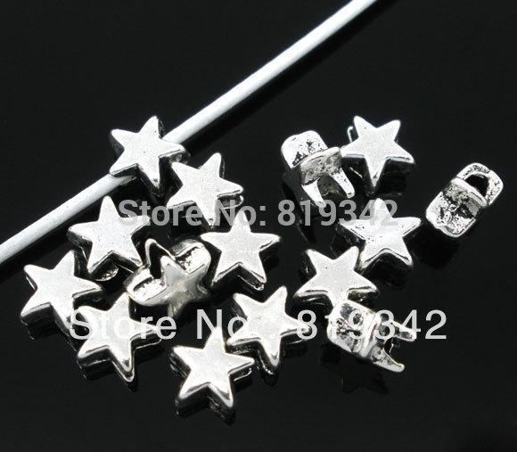 200 шт античное серебро тон Star подвески спейсерной бусины 6 х 6 мм ювелирные изделия выводы