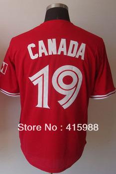 Free shipping,Wholesale baseball jersey Toronto Blue Jays 19 Jose Bautista coolbase canada day jerseys,size48-56
