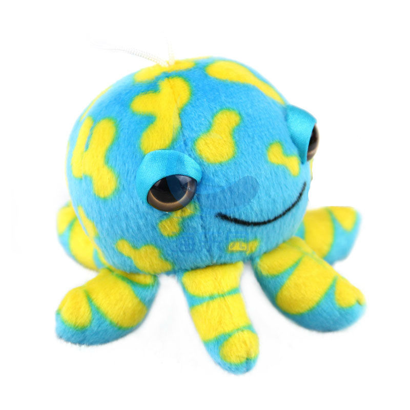 Free Shipping! Wholesale stuffed animals mini size Six Small Claw Octopus Bag Key Small charms Plush Toy Decor for car toy dolls(China (Mainland))