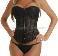 Black Overbust Boned Corset Lace up Bustier Sexy Padded Cup Lingerie S M L XL 2XL