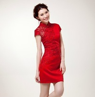 2013 cheongsam bridal vintage lace short paragraph the improved design red beading sexy transparent cheongsam 7008