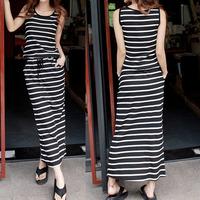 Bohemia style full dress fashion stripe long paragraph ultra casual one-piece dress