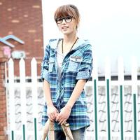 Spring summer juniors clothing school wear with a hood plaid shirt long-sleeve SEMIR Women shirt