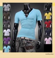 Free shipping Mens Designer Casual V Neck T-Shirts Tee Shirt Slim Fit Tops New short sleeve t-shirt S M L XL D304