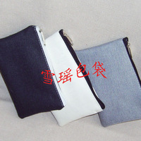 DIY White black and gray canvas bag blank purse card holder male women's WALLET  diy personality coin purse bag