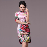 23refreshing quality floweryness velvet cheongsam summer long-sleeve dress cheongsam fashion g97126