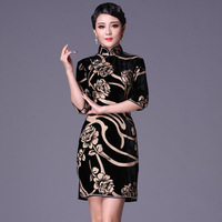 Heavy silk cheongsam fashion vintage short design half sleeve cheongsam g99515