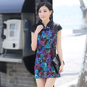 Colorful rose summer 2013 cheongsam dress fashion design vintage short one-piece dress
