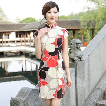 Butterfly fluid cheongsam fashion design short cheongsam dress summer 2013 women's linen g13304
