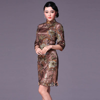 Coffee small half sleeve cheongsam fashion lace design sexy short cheongsam dress vintage g95116