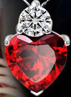 88A089 Wholesale fashion high-grade heart shape  red zircon pendant jewelry Free Shipping