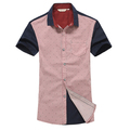 Spring and summer teenage vintage british style polka dot short-sleeve shirt men's clothing all-match