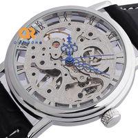Retro Navigation hollow Carving mechanical watches man silver skeleton sports designer wrist watch
