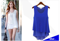 Free Shipping (1pc retail) EU style Fashion Ladies Chiffon clothes,Chiffon sleeveless T-shirts,3colors and 4 sizes available