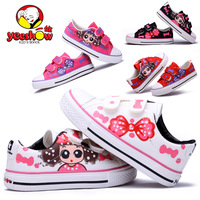Expert skills 2013 girls shoes spring hand-painted  child canvas   solid  shoes princess bow   Free shipping