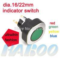 HABOO dia.16mm or 22mm ultra thin electric  illuminated indicator led light 6V,12V,24V,110V,220V