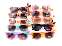 Free shipping Hot 2013 New Funny Children Rabbit bow brand Sunglasses Cute Candy Colors Frame Kids Sun Glasses Mix 10 Colors